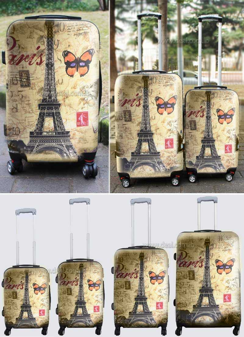 4 pieces paris design luggage set