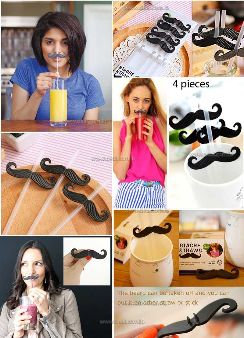 4 pieces plastic mustache straws straw for creative festival wedding party