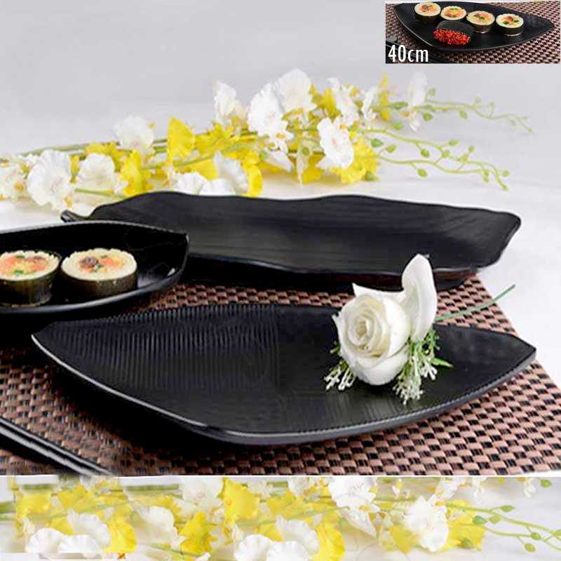 40CM+Black+Melamine+matte+triangle+plate+snack+seafood