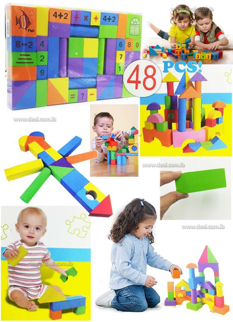 48 pcs Multicolors EVA Foam Building Blocks With Numbers