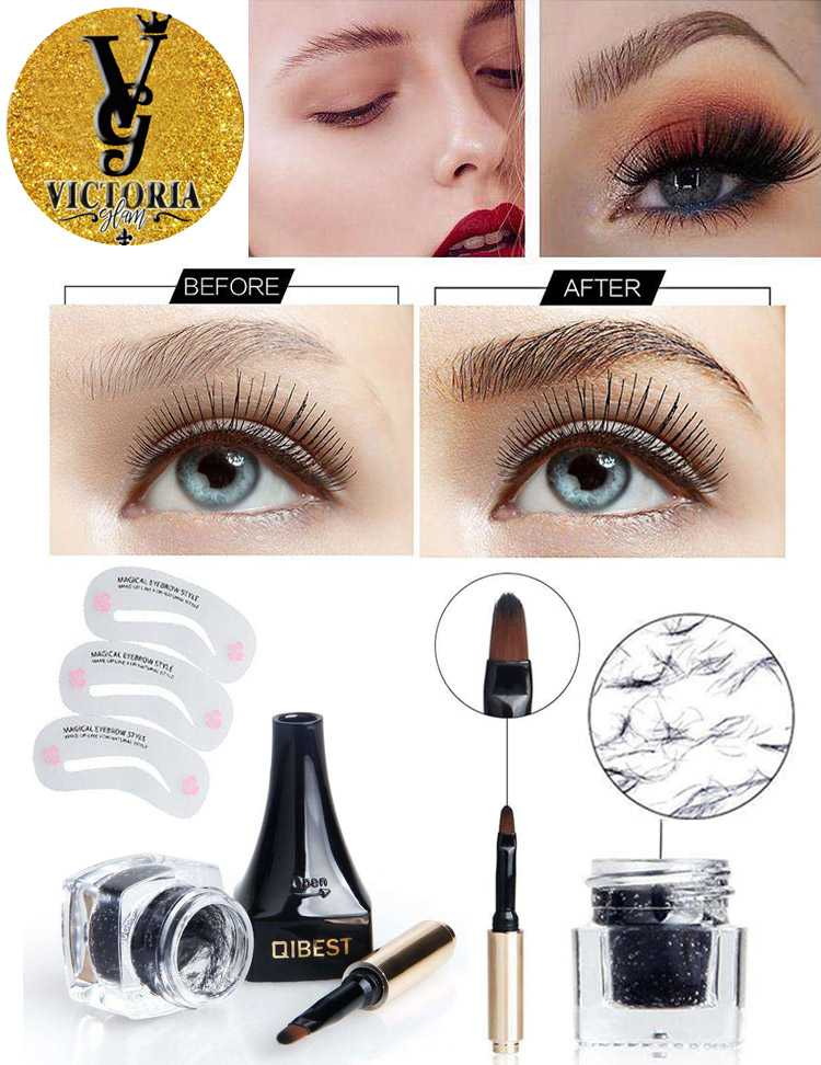 4D Eyebrow Fiber Extension Cream Gel Brush Template Card Set