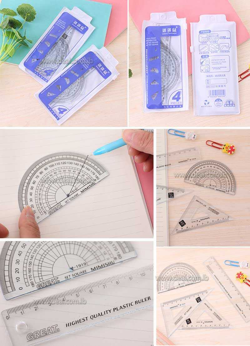 4Pcs pack Stationery Store School Office Drawing Rulers School Line Cute Dot Plastic Spirograph Rulers Set School Supplies