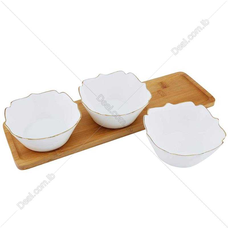 4pcs Snack Set Bowls With A bamboo Tray