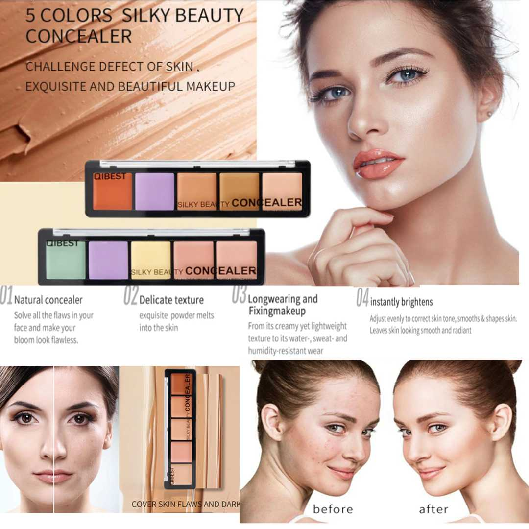 5 Colors Concealer Palette Perfect Cover Scar Darkness Lasting Concealer Cream Bronzer Face Makeup