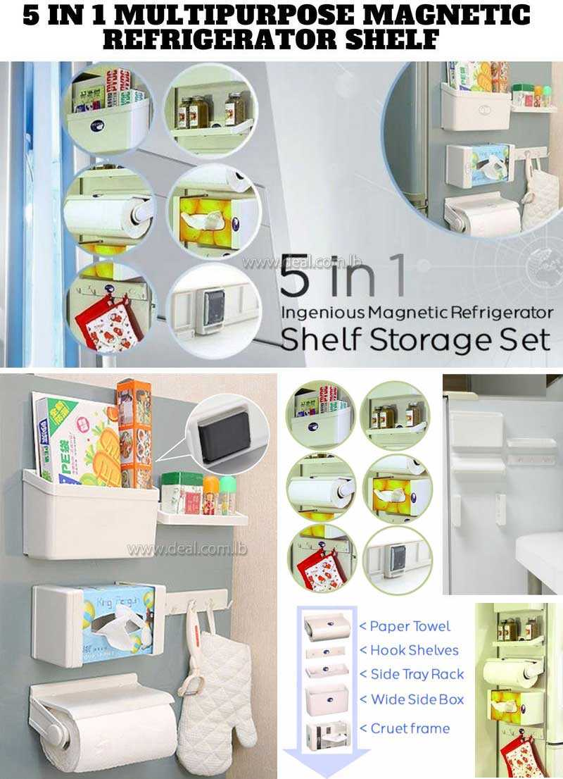 5 In 1 Fridge Magnet Storage Rack Shelf Set Combination