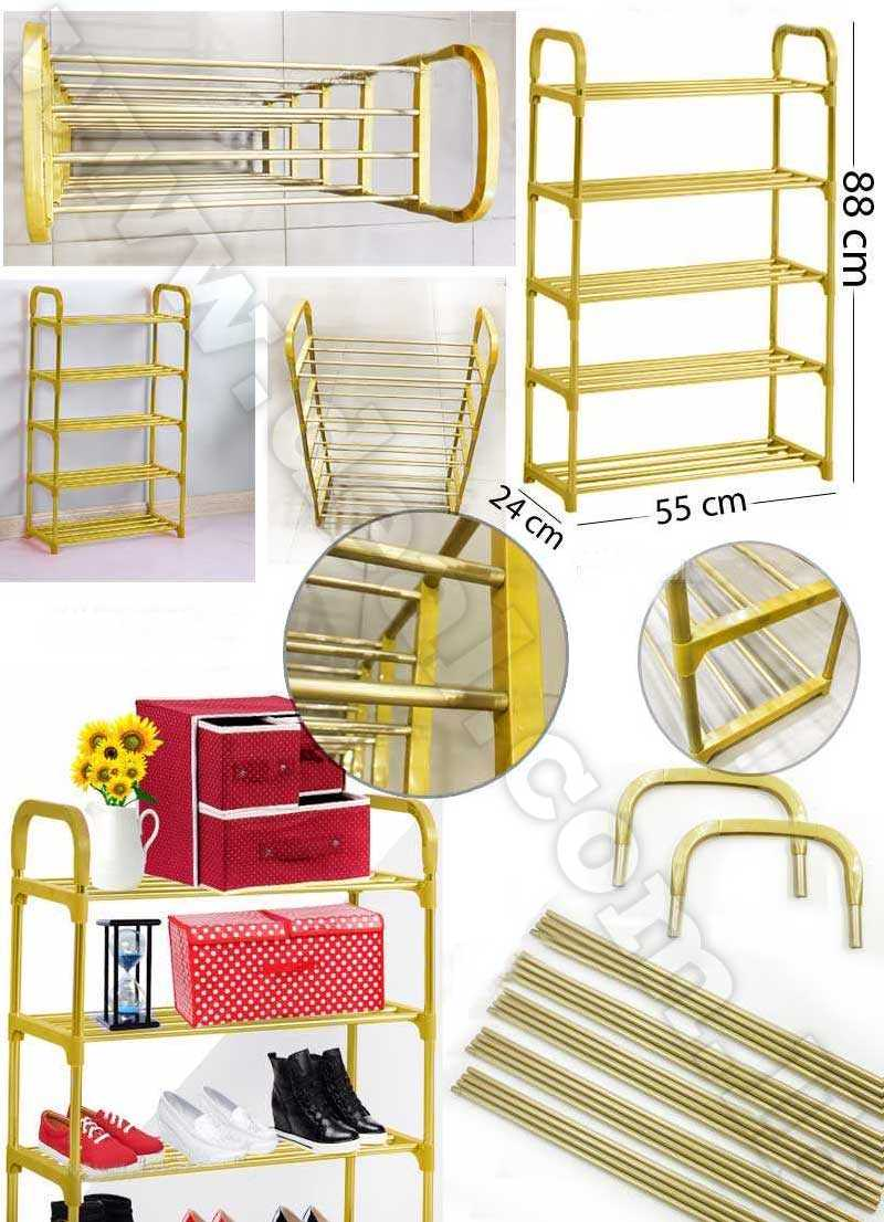 5 Layers  shoes Gold  portable racks folding dust shoes shelf shoe rack