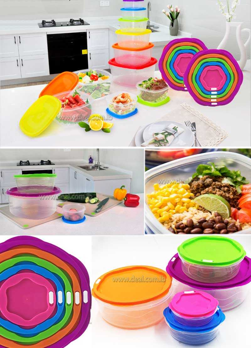5 pcs Round stacking plastic food plastic food storage containers sets with multi colorful lids