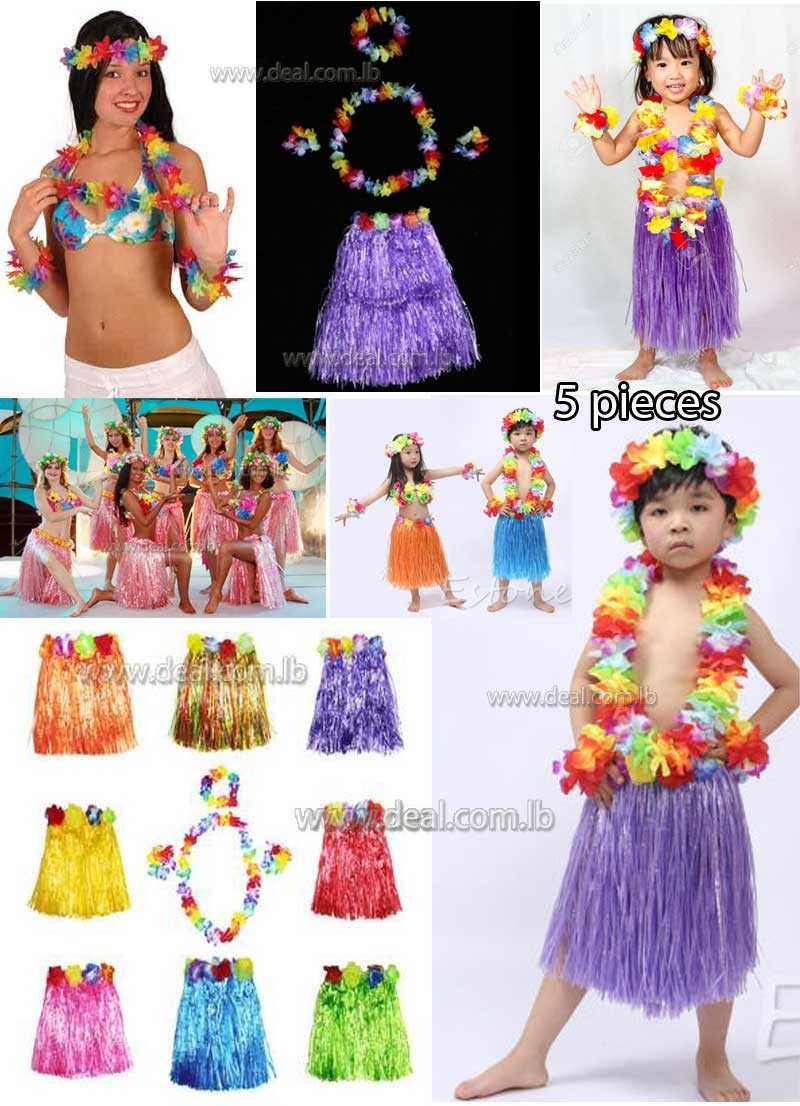 5 pieces Hula Skirt Kit hawaiian costume