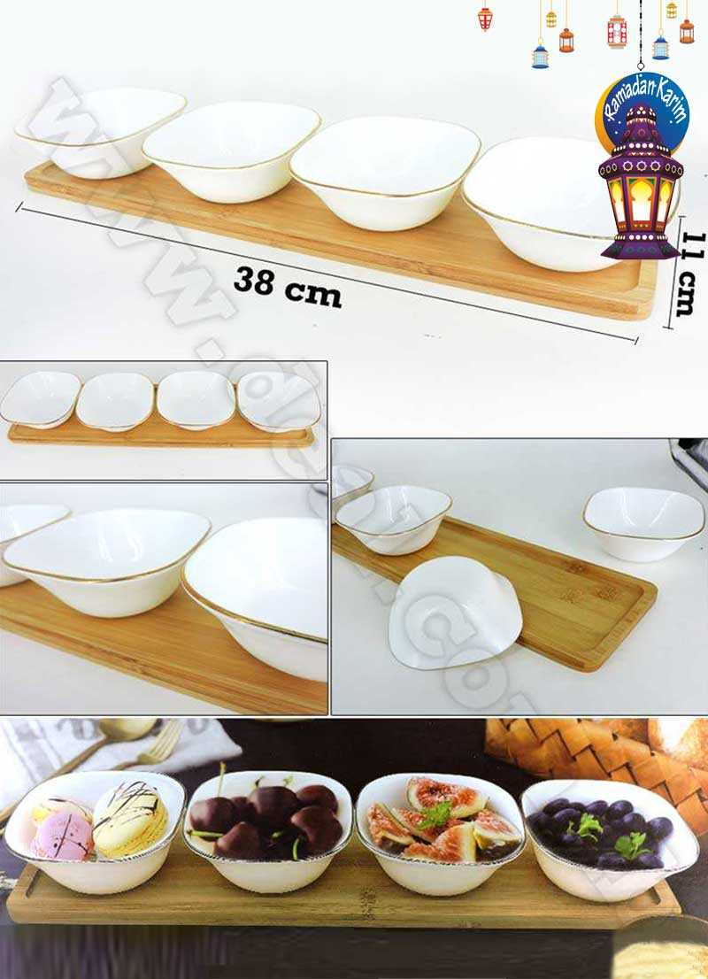 5pcs Gold Snack Set Bowls With A bamboo Tray