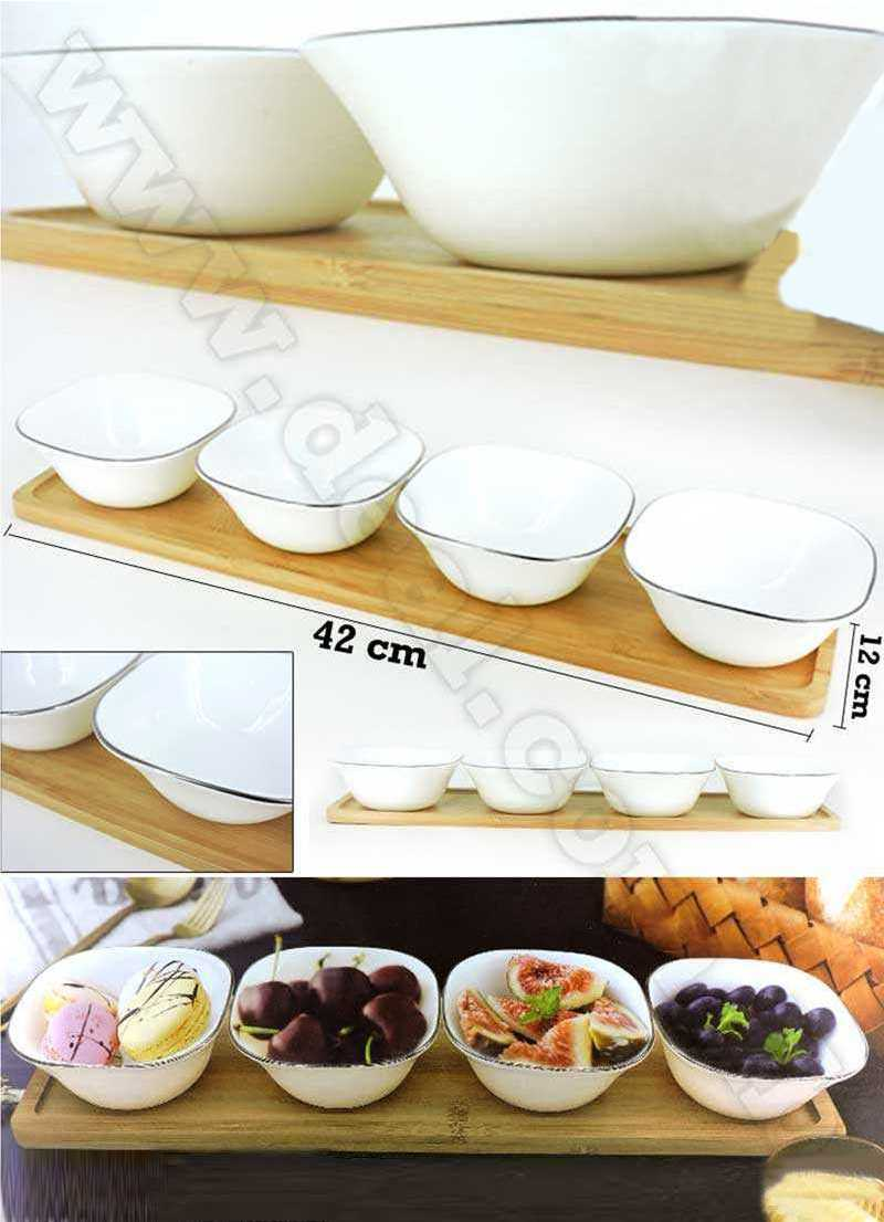 5pcs Silver Snack Set Bowls With A bamboo Tray