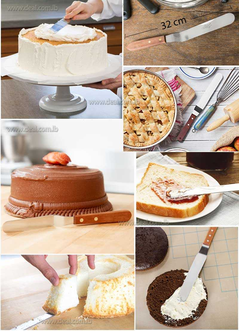 6  Inch Stainless Steel Wooden Handle Butter Cake Cream Knife Spatula Smooth Spread Tool
