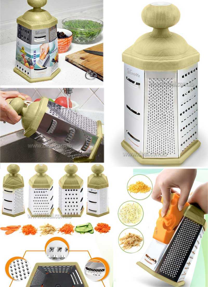 6 Side Box Grater Stainless Steel Cheese Grater with Wood like Handle for Hard Cheese Parmesan Vegetable