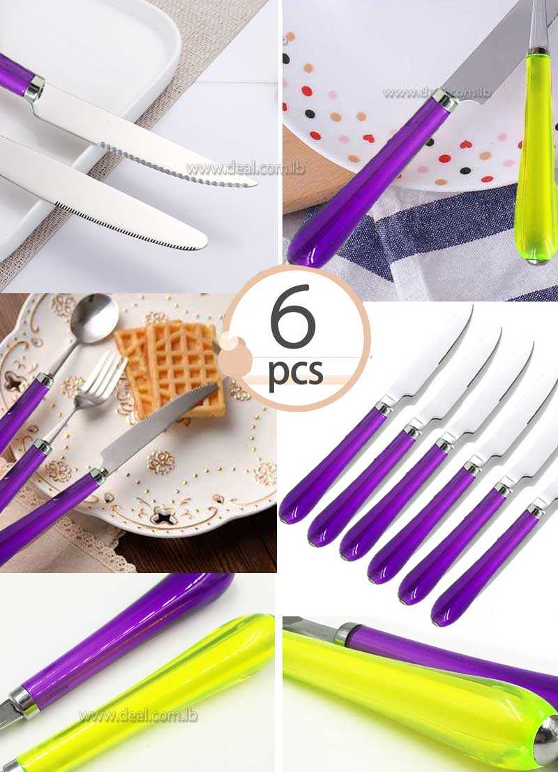 6 pcs knife set Stainless Steel Steak Knife Meal Handle High Quality Tableware