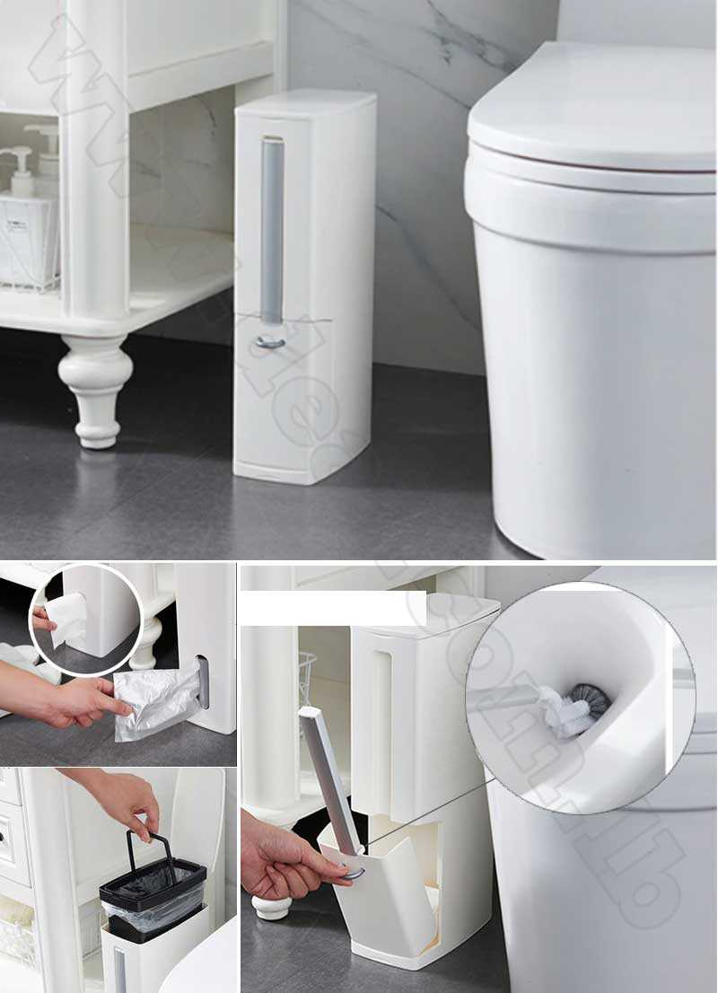 6L Narrow Plastic Trash Can Set with Toilet Brush Bathroom