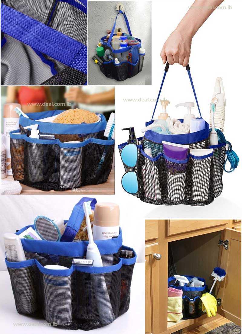 8 Pocket Shower Caddy Bath Caddy Cosmetics Organizer Portable ...