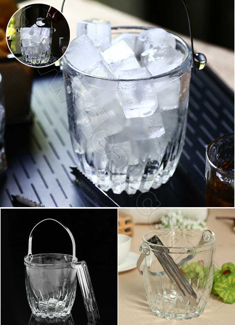 900ML Clear Glass Ice Bucket With Stainless Steel  Tong