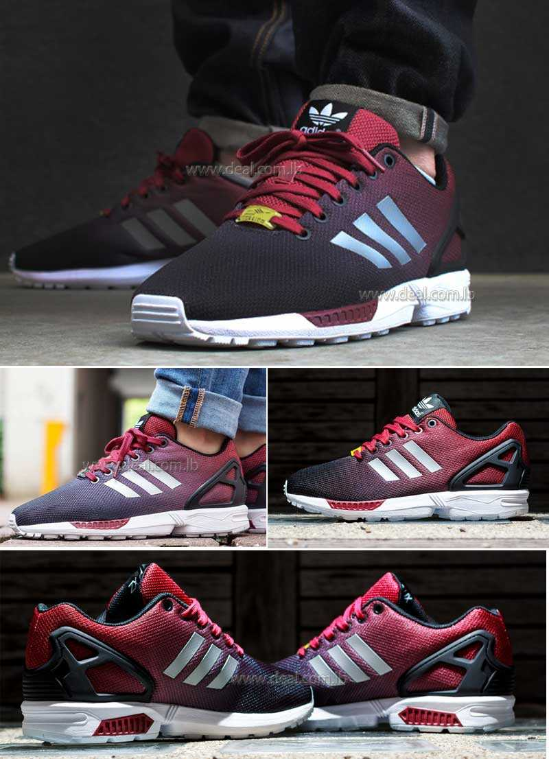 ADIDAS ORIGINALS ZX FLUX REFLECTIVE BLACK SILVER RED TRAINERS