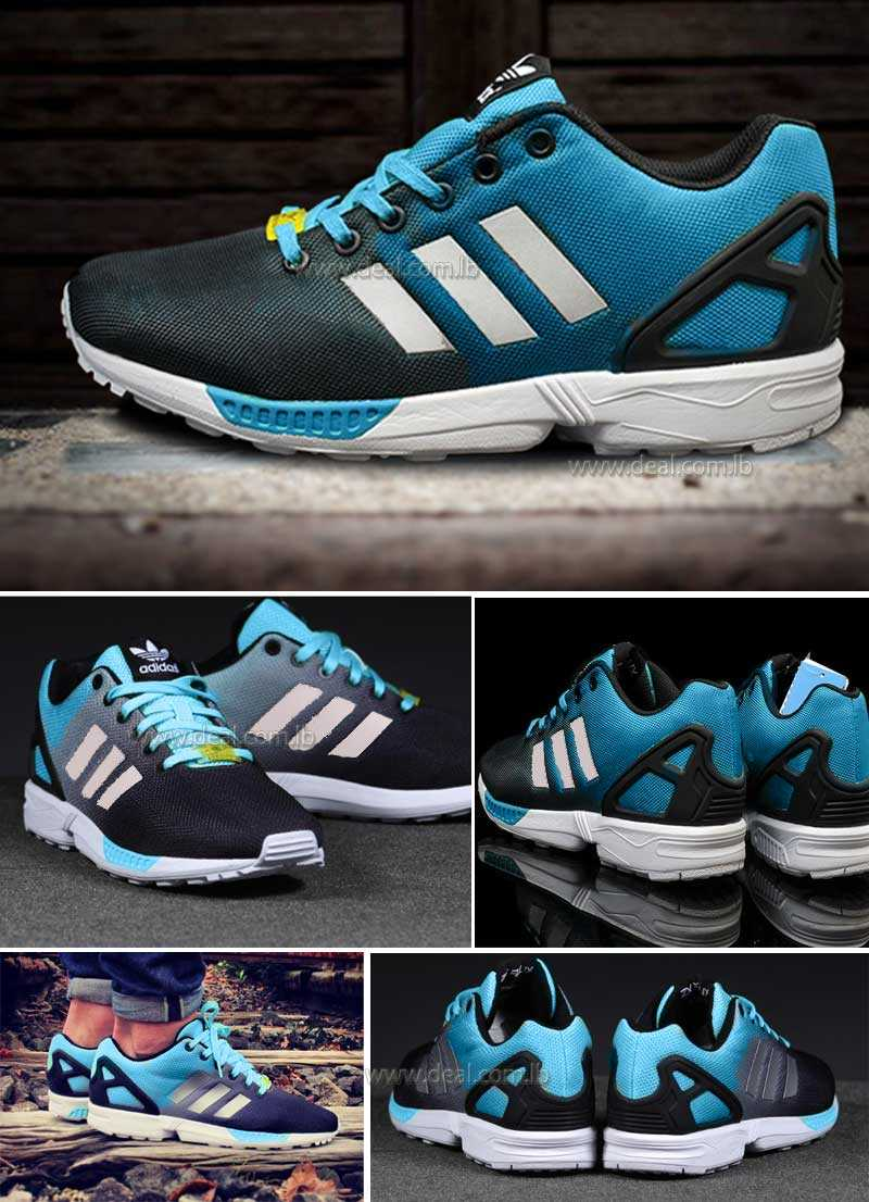 Adidas Originals Zx Flux Reflective Black blue  Silver Royal Trainers