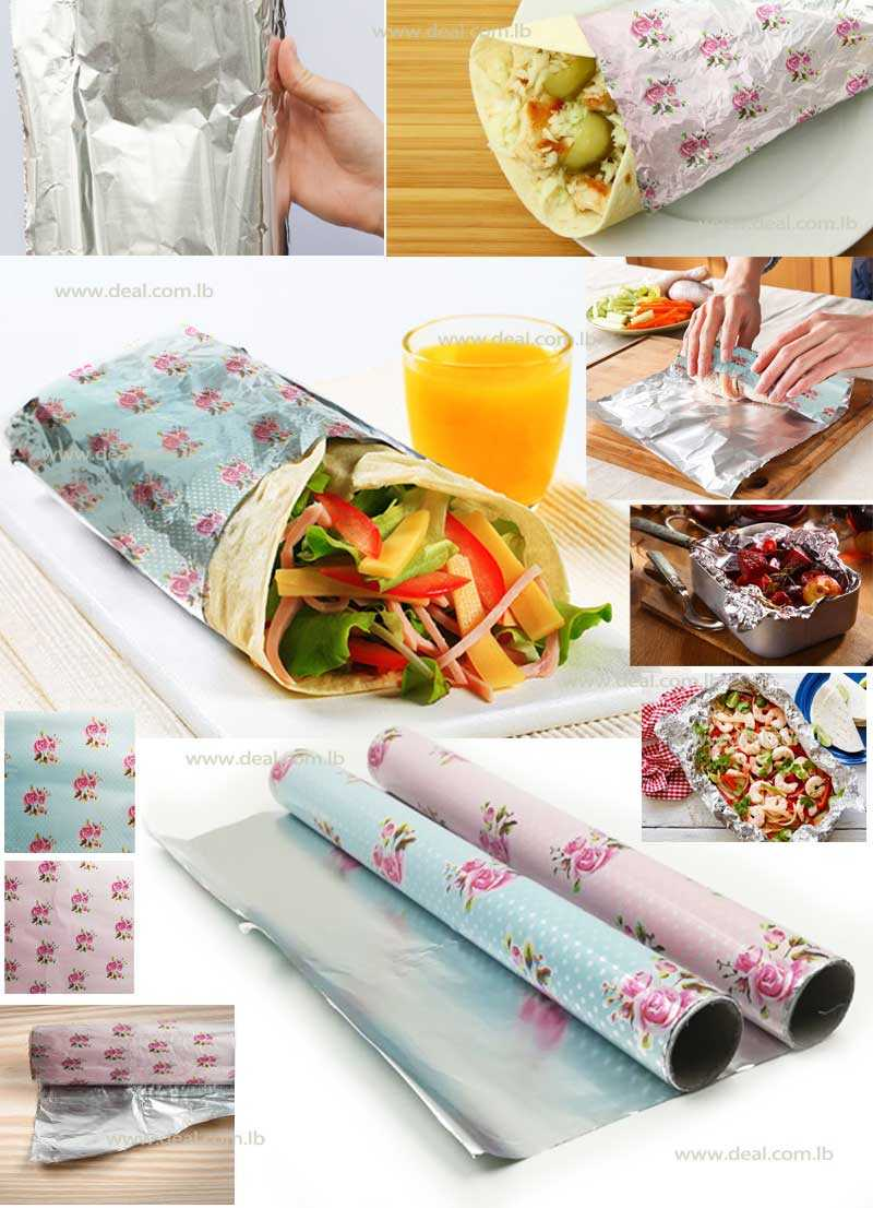 Aluminium+Food+Wrapping+Paper+Flower+Print