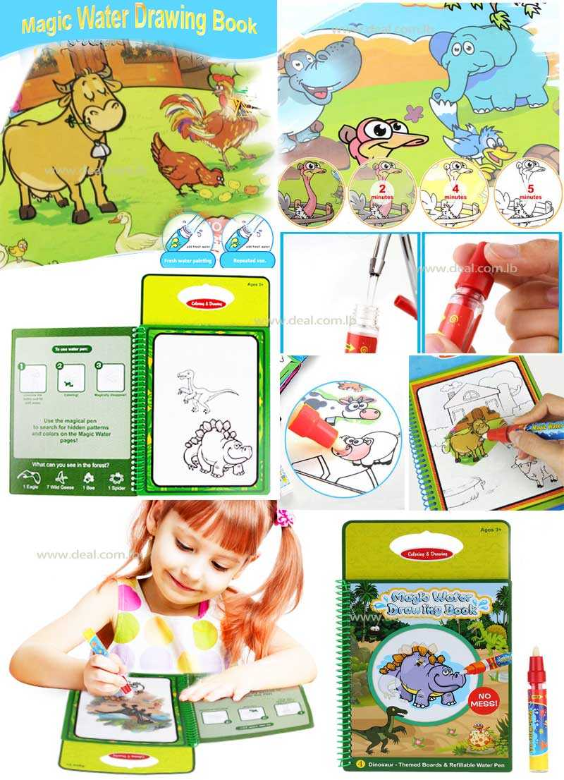 Animal Style Magic Water Drawing Book Kids Educational Toy