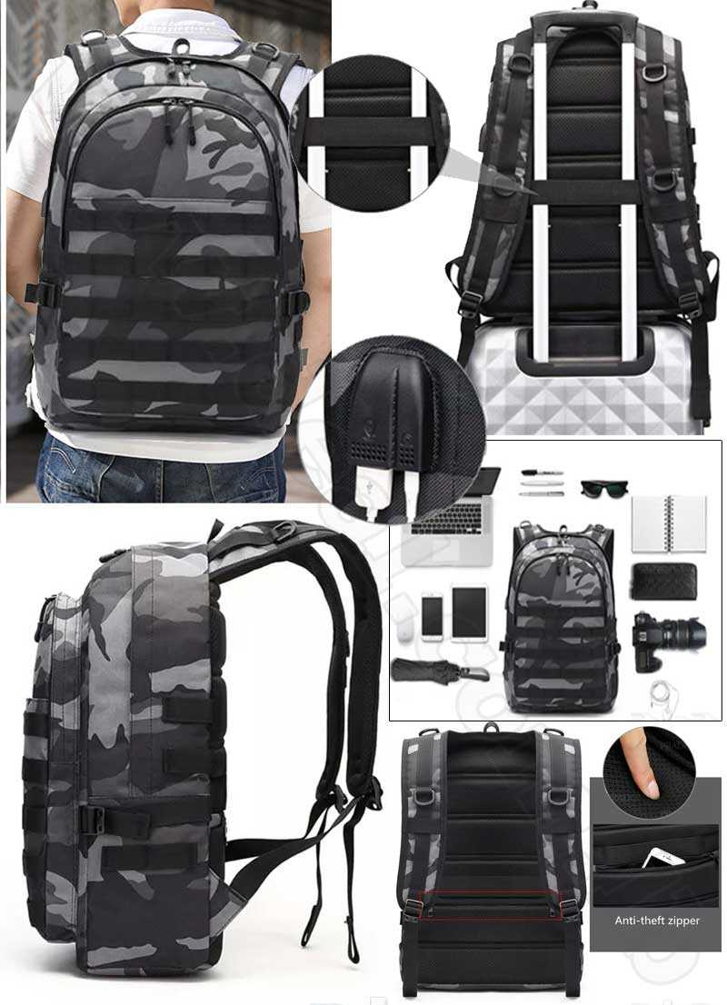 Army Military Tactical 3P PUBG 17 inch Backpack with USB