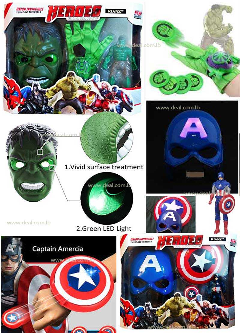 Avengers  Light Up Mask Figure & Shield Disk Launcher Play Set