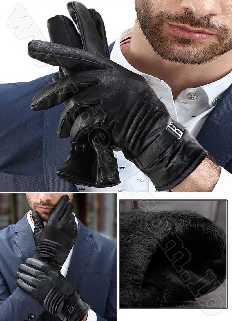 B design Men Leather Gloves  Fashion Black Warm Driving Glove