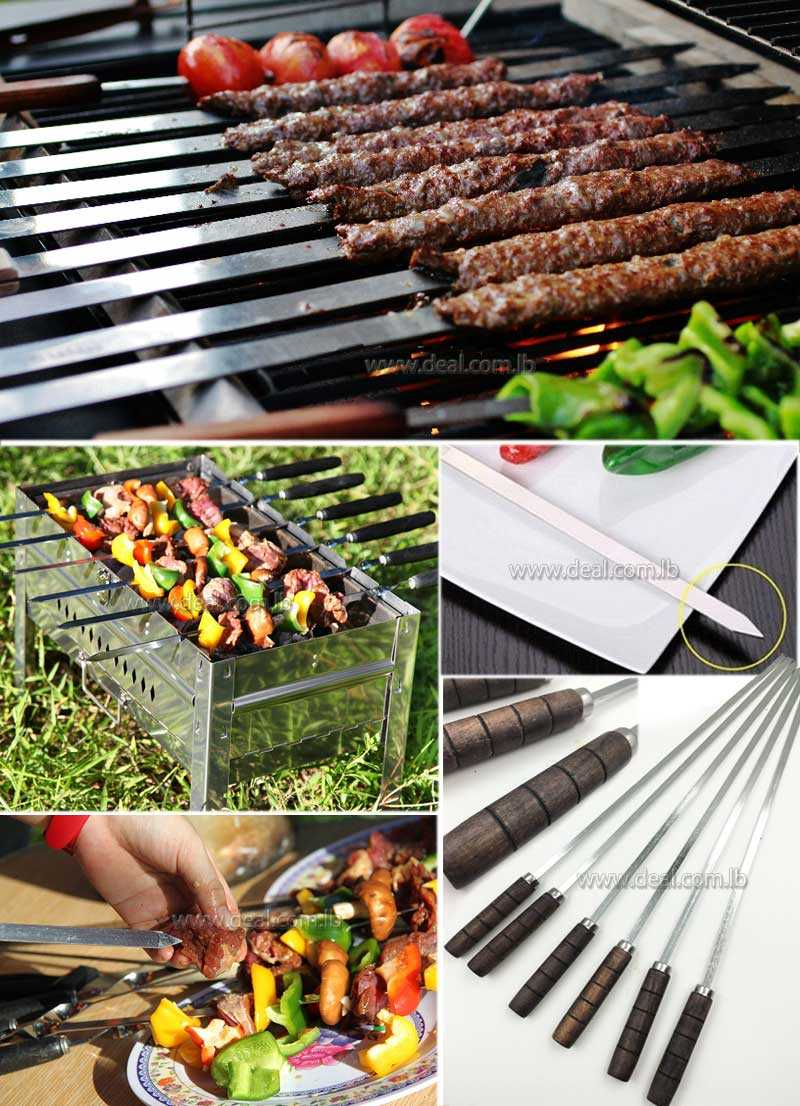 6 PCS BBQ Skewers Stainless Steel Barbecue Grill Needle Wooden Handle BBQ Fork Long Meat Flat Kebob Skewer set