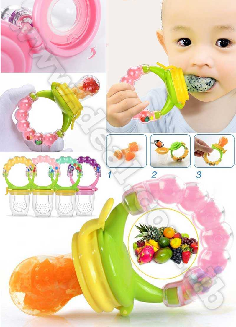 Baby Food Feeder Pacifier Nipple Silicone Teether Hand Bell