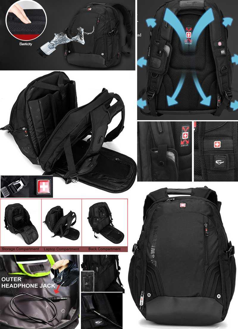 Backpack SW8535 SWISS GEAR BACKPACK WITH HEADPHONE JACK