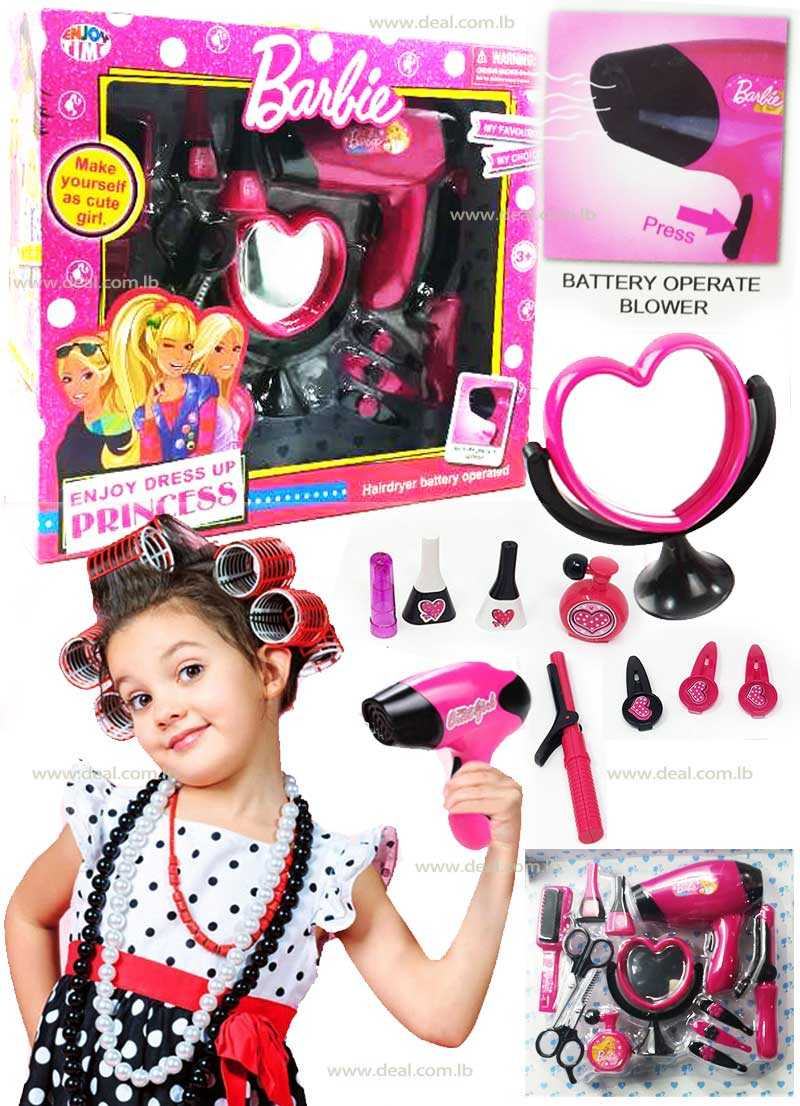 Barbie Girls Beauty Salon Fashion Play Set with Hairdryer Mirror & Styling Accessories