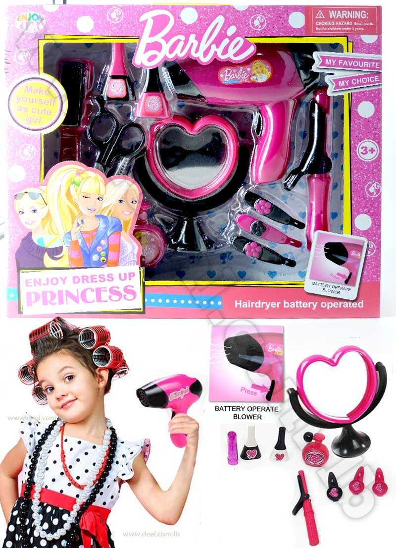 Barbie+Girls+Beauty+Salon+Fashion+Play+Set+with+Hairdryer+Mirror+%26+Styling+Accessories