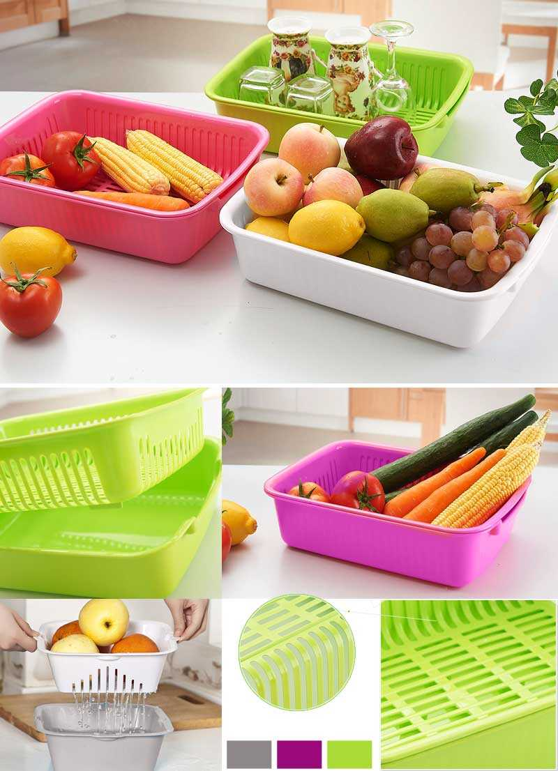 Basket of fruits and vegetables double layer plastic drip basket vegetables basket fruit plate