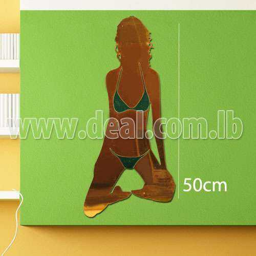 Beach Woman acrylic decorative mirror sticker, wall mirror sticker decoration
