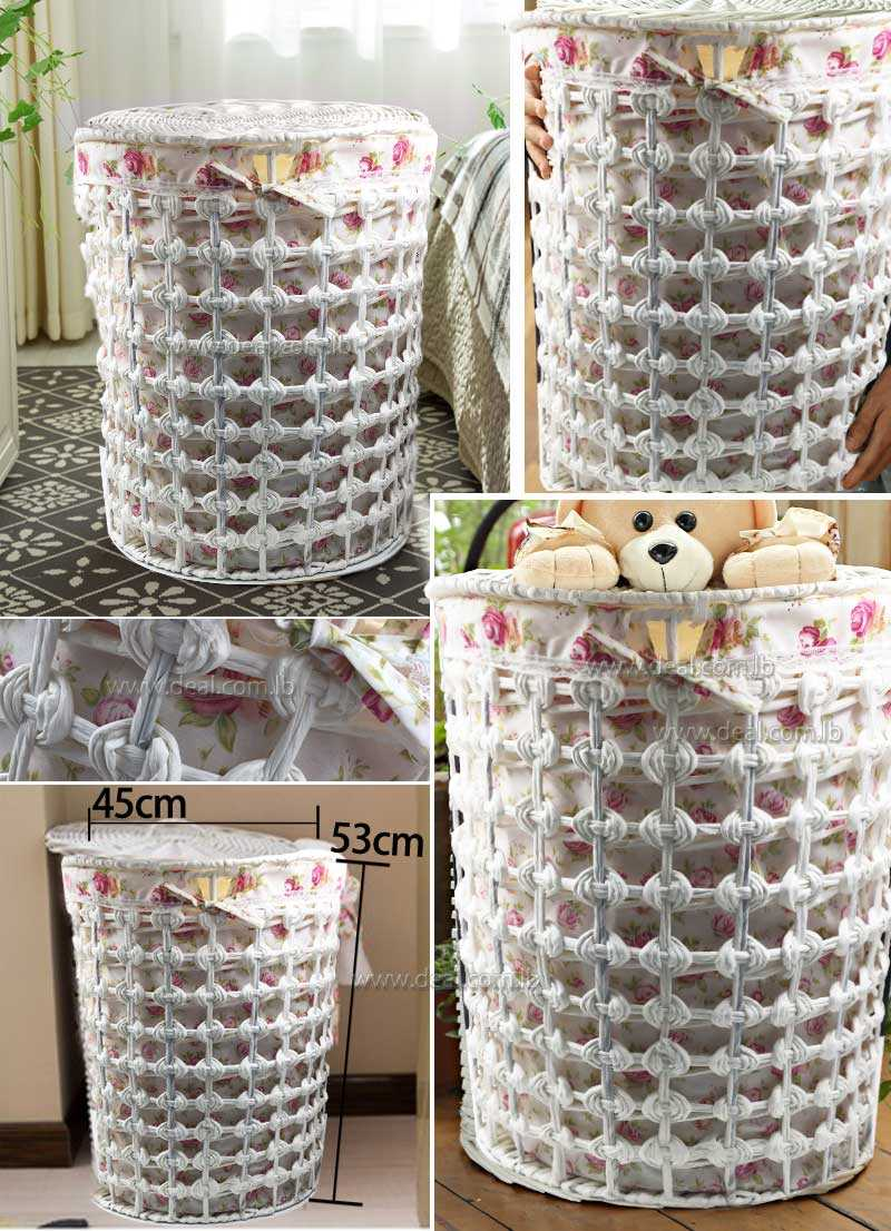 Big size 53x45x35cm Round white storage hamper basket storage box Wicker chest extra large laundry basket garden fabric cover