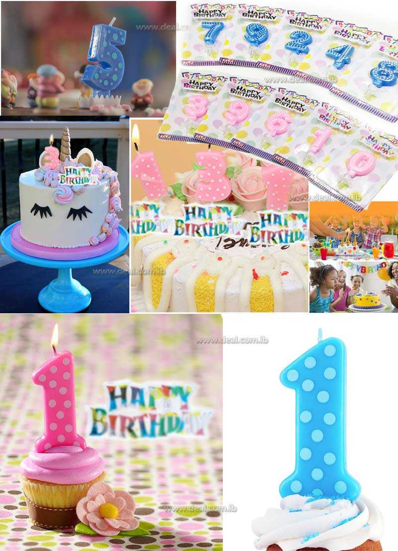 Birthday Number Polka Dot Candle With Topper