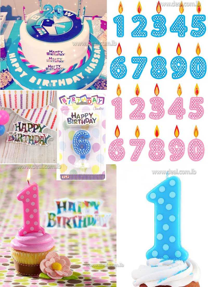 Birthday Number Polka Dot Candle With Happy Birthday Motto