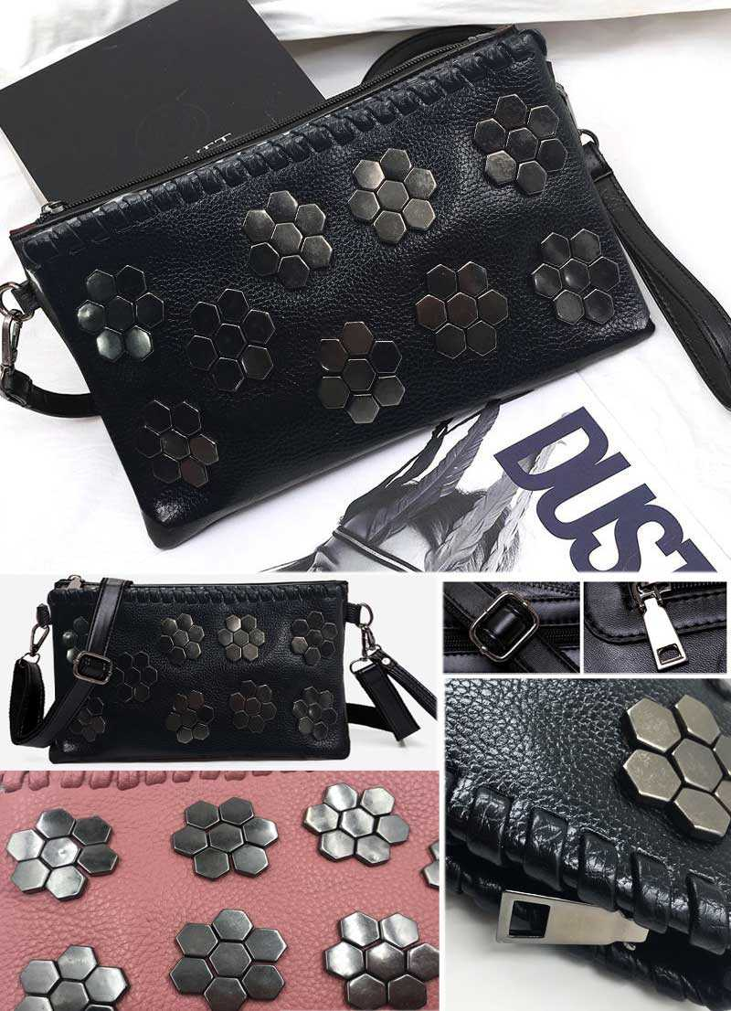 Black Envelope Women Clutch Rivet Girls Leather Party Purse Small Shoulder Handbag Evening Messenger Bags