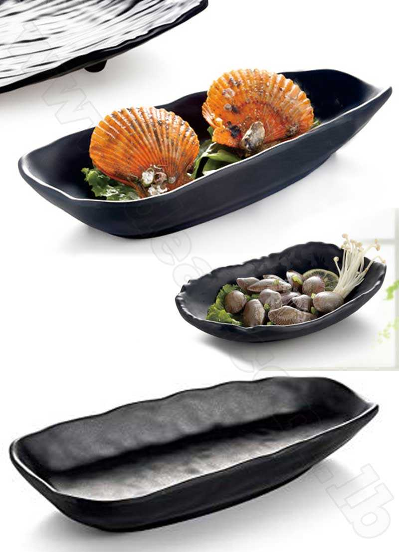 Black Melamine Oval Bowl Dish