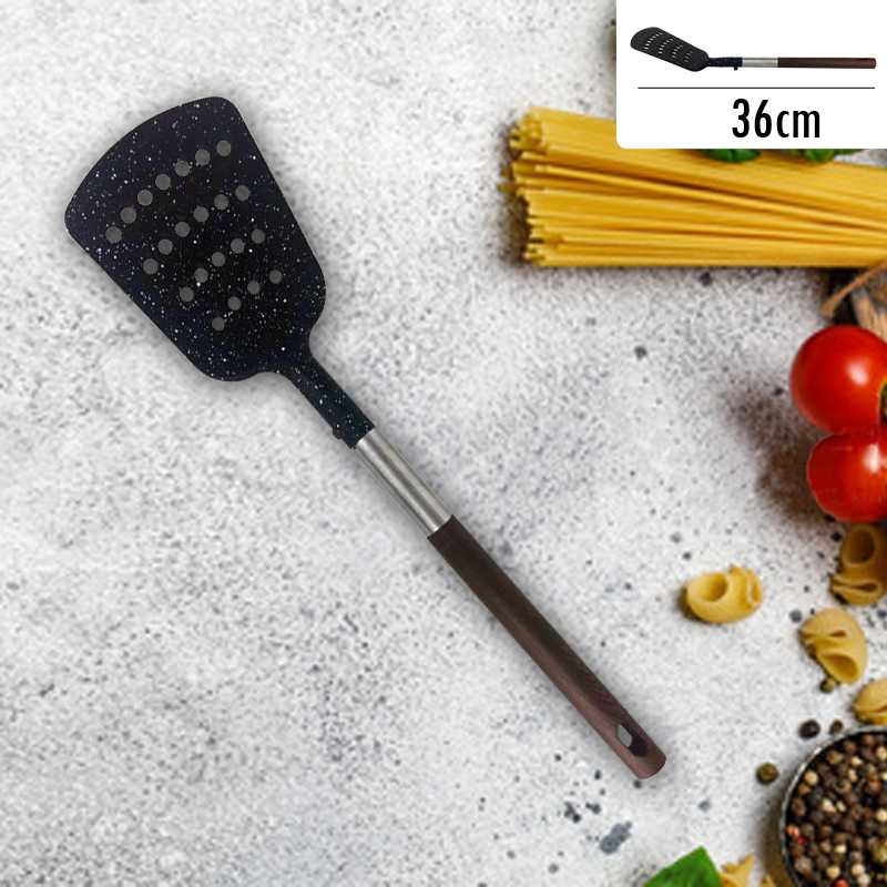 Black Spatulas Slotted Easy To Clean Kitchen Baking Tools Silicone With wood Hand