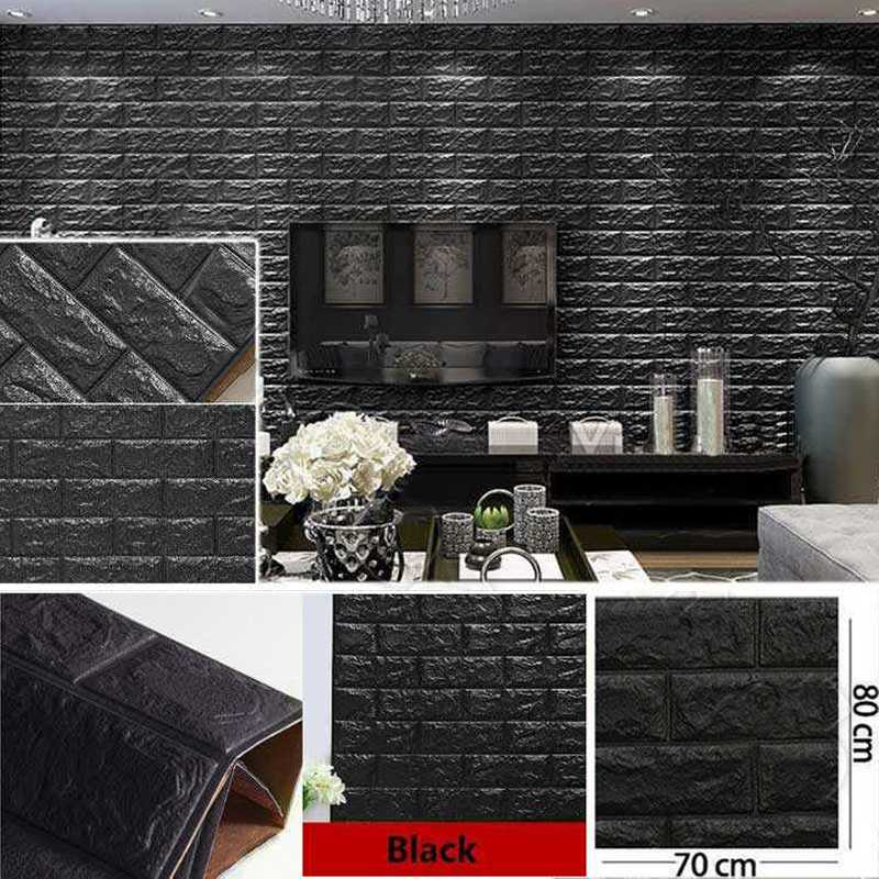 Black color 3D Brick Wall Sticker Self 70x80cm PE Foam Wallpaper Antibacterial DIY Stone Brick Wall Decals For Living Room Kids Bedroom Self-Adhesive Home Decor