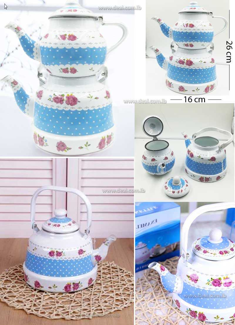Blue Decorated  Enamel Teapot Kettle  1.1L And 2.5L