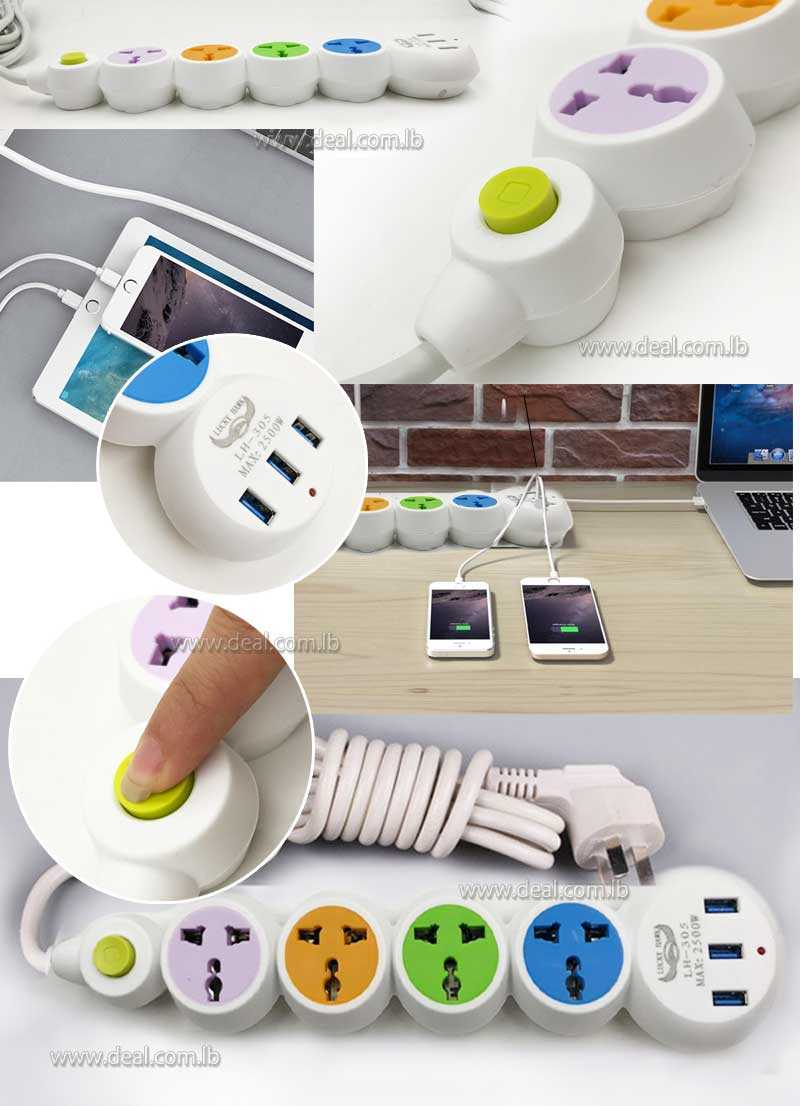 Bubble socket plug 4 with 3 USB Colorfull Socket