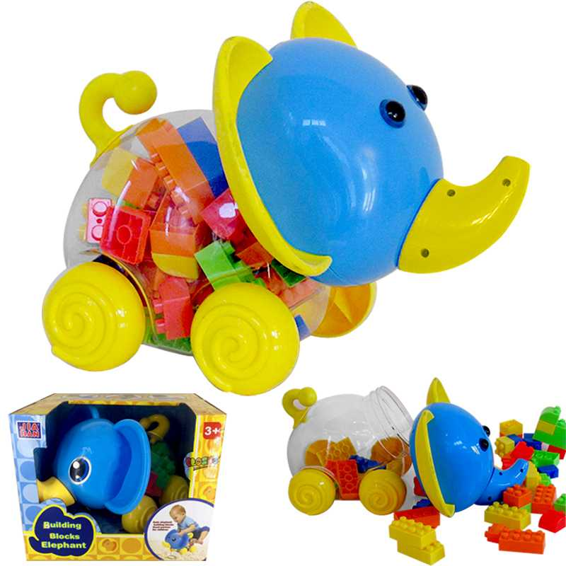 Building Blocks with a Elephent Shape Blocks Container for Babies and Toddlers