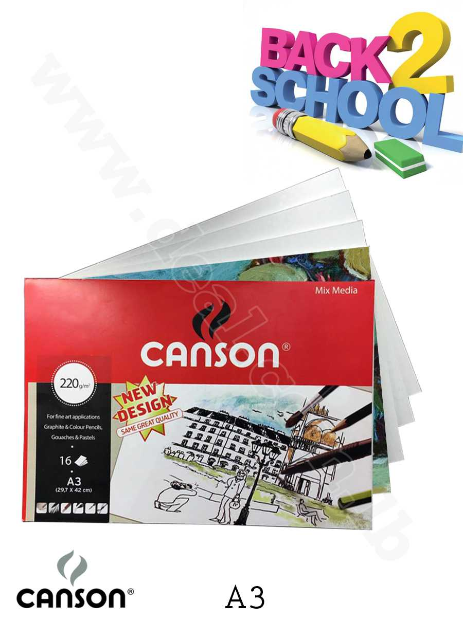 Canson A3 white drawing paper pad A3