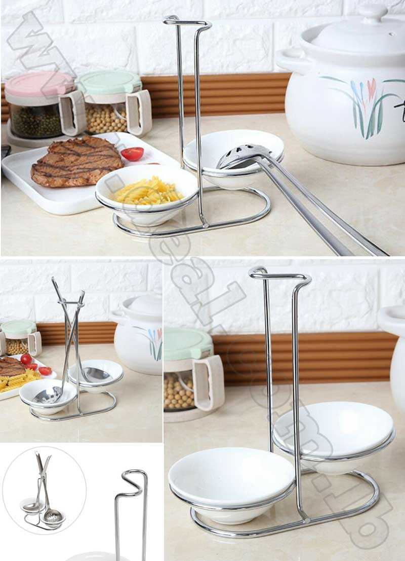 Ceramic Kitchen Ladle Spoon Rest Holder Rack Double round bowl