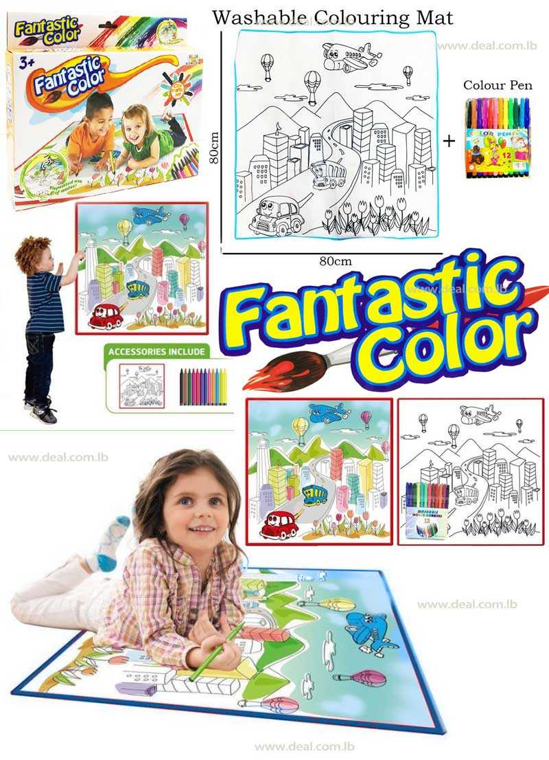 City Traffic Set Washable Colouring Mat With Colour Pens