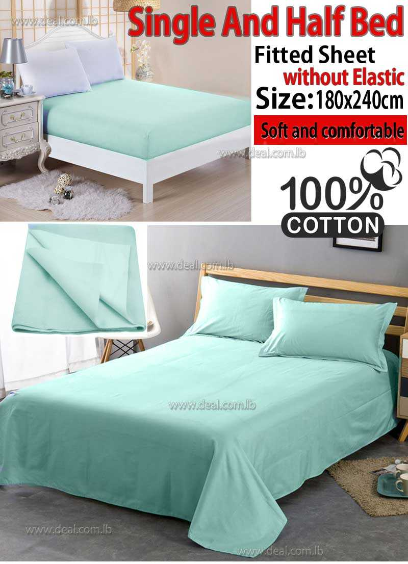Classic Aqua Fitted Sheet Without Elastic