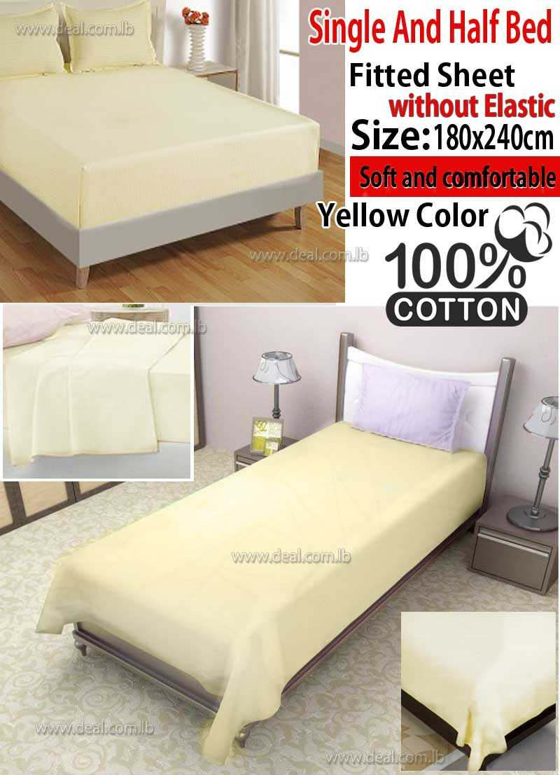 Classic Light Yellow Fitted Sheet Without Elastic