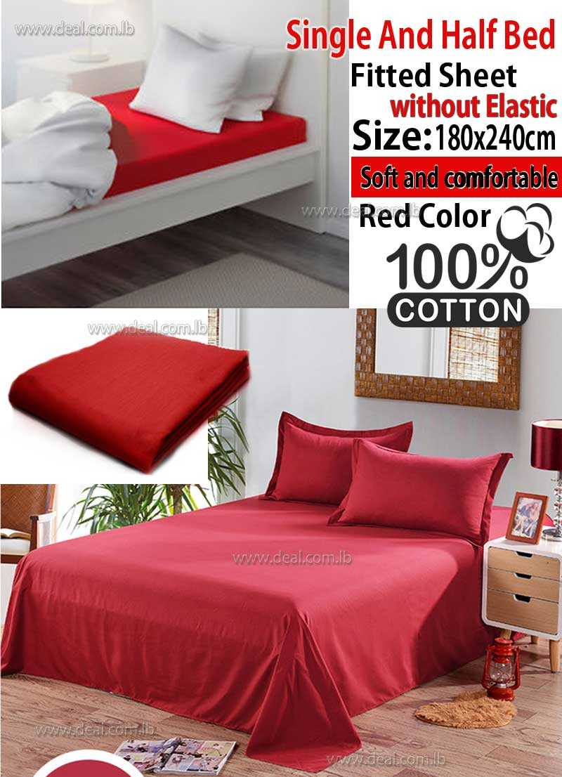 Classic Red Fitted Sheet Without Elastic